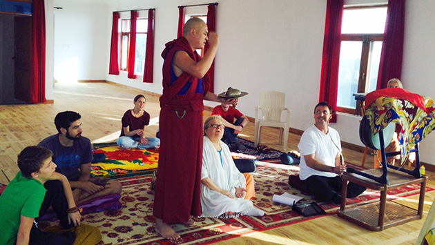 Geshe Sherab Lodoe teaches in the meditation hall
